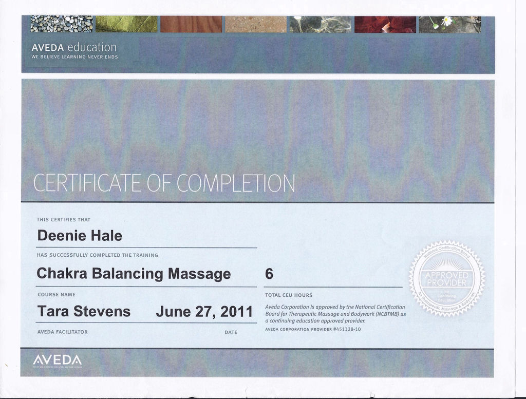 Deenie hale lmt certified fascial stretch therapist level 1 chakra balancing massage certificate 1betcityfo Image collections
