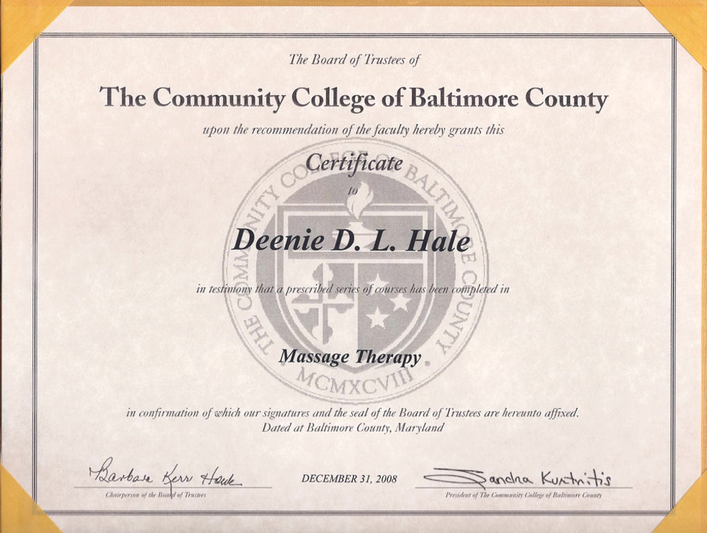 deenie hale lmt certified fascial stretch therapist level 1 massage therapy certificate community college of baltimore county